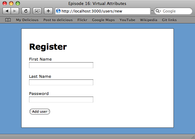 The new user form.