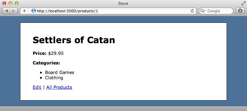 商品に対応するカテゴリーがページに表示される