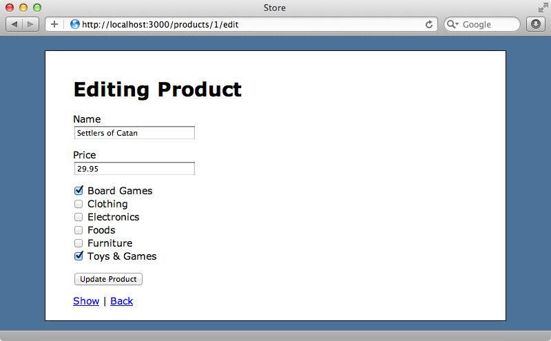 The product form now has checkboxes for the categories.
