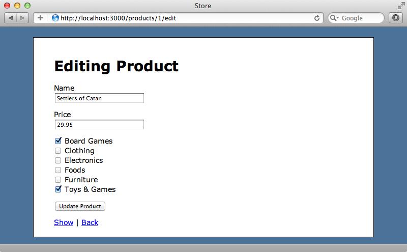 商品フォームに、カテゴリー用のチェックボックスが表示される