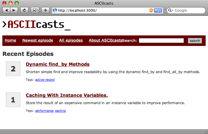The ASCIIcasts homepage.