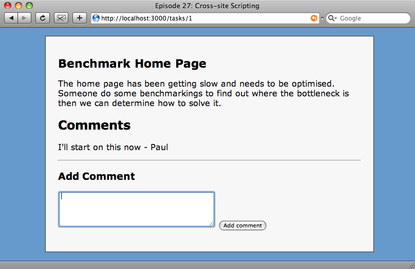 Our site, showing the comments box.