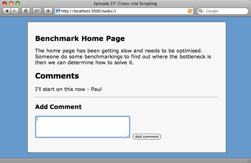 Il nostro sito, mostrante il box dei commenti.