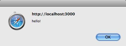 Un alert JavaScript causato da cross-site scripting.