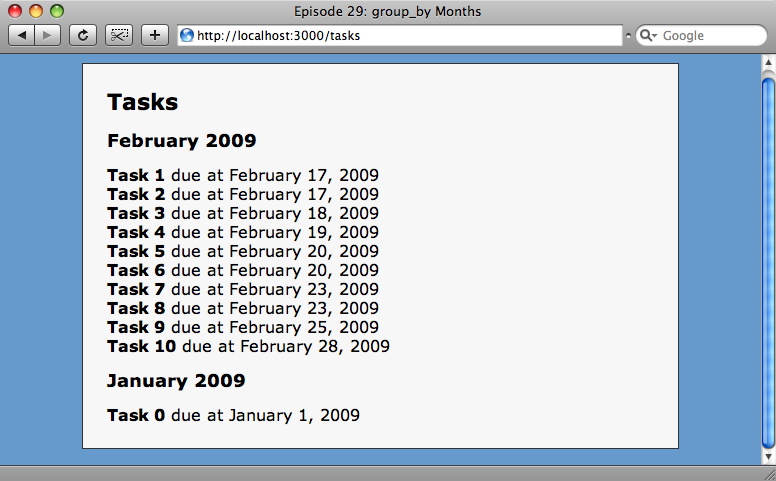 The tasks are now grouped, but the months are in the wrong order.