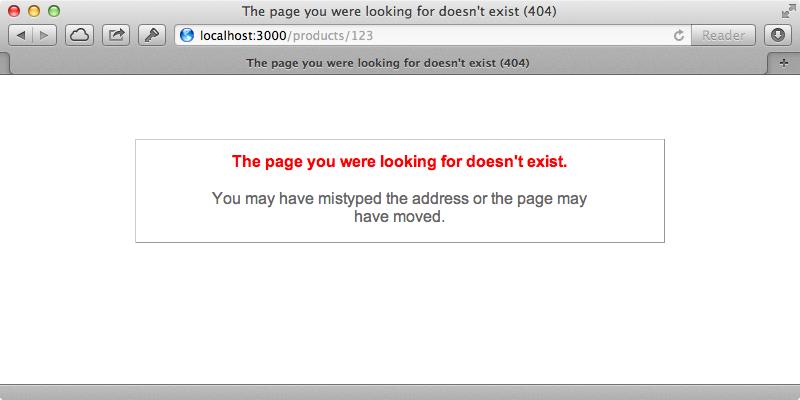 The standard Rails error page.