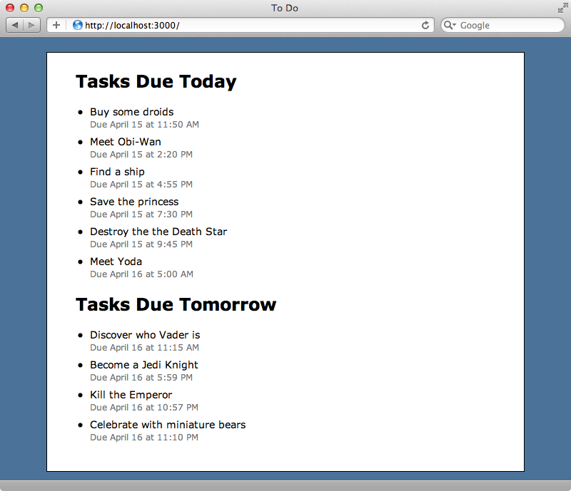 Our tasks application with the 'Meet Yoda' task showing on the wrong day.