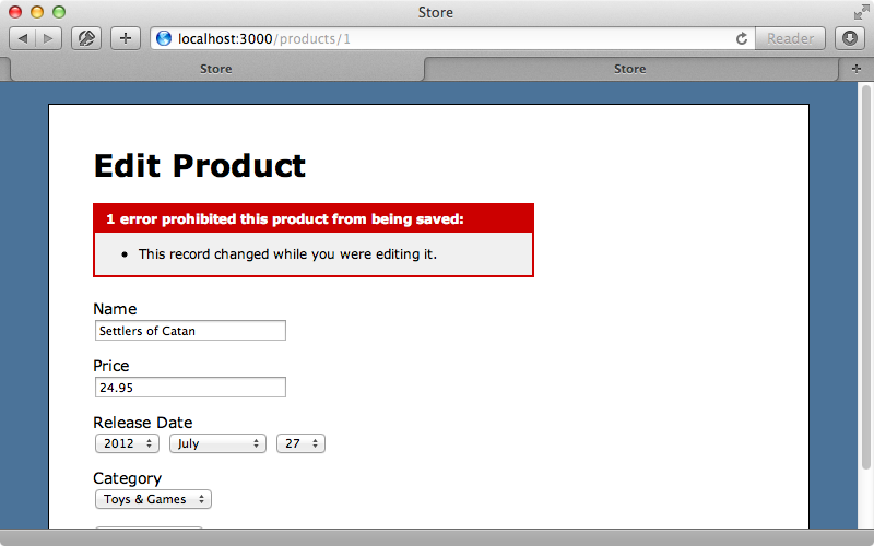 The page now shows a validation error if a stale version of a product is updated.