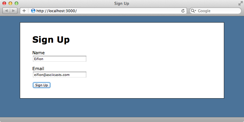 Our simple signup form.