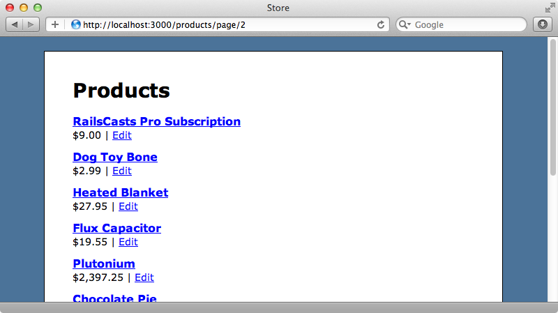 The correct page of products is now shown.