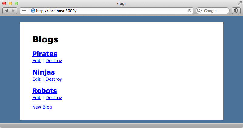 The home page of our blogging application.