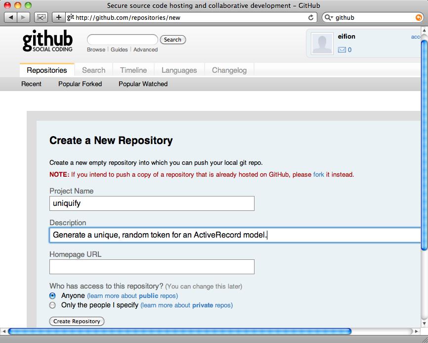 Creazione di un nuovo repository su Github.