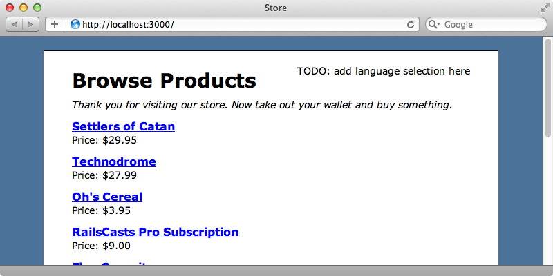 The home page of our store application showing the static text at the top.