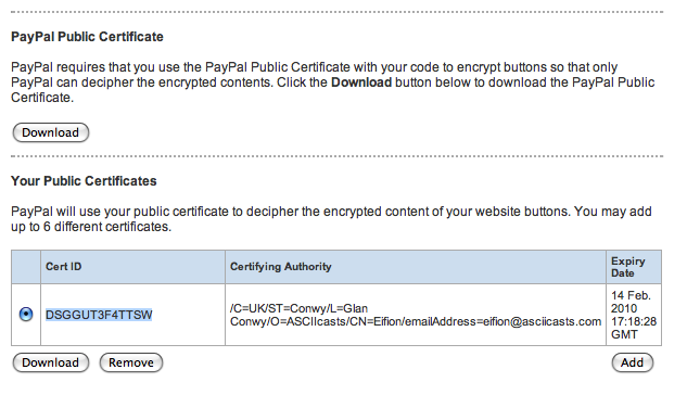 Our uploaded certificate showing in our PayPal account.