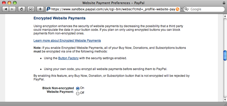Turning off unencrypted payments.