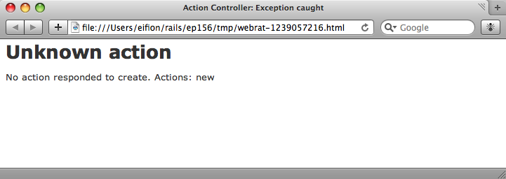 The application's exception is shown in a browser window.