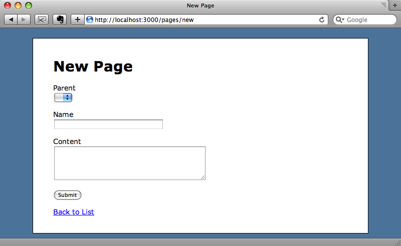 The page form now has a dropdown for the parent.