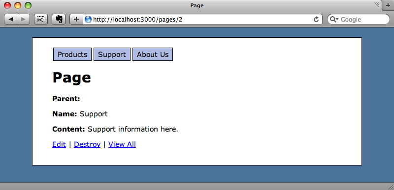All of the page's fields are shown by default.