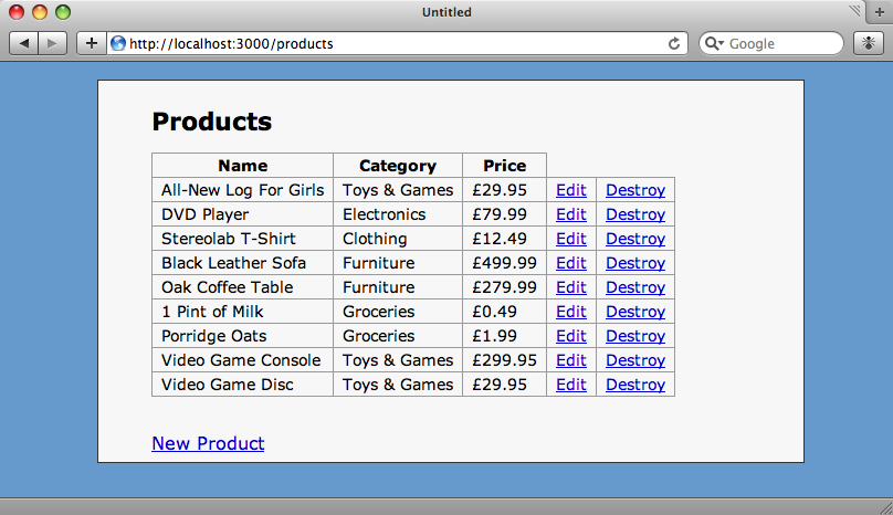 The index page on the store application.