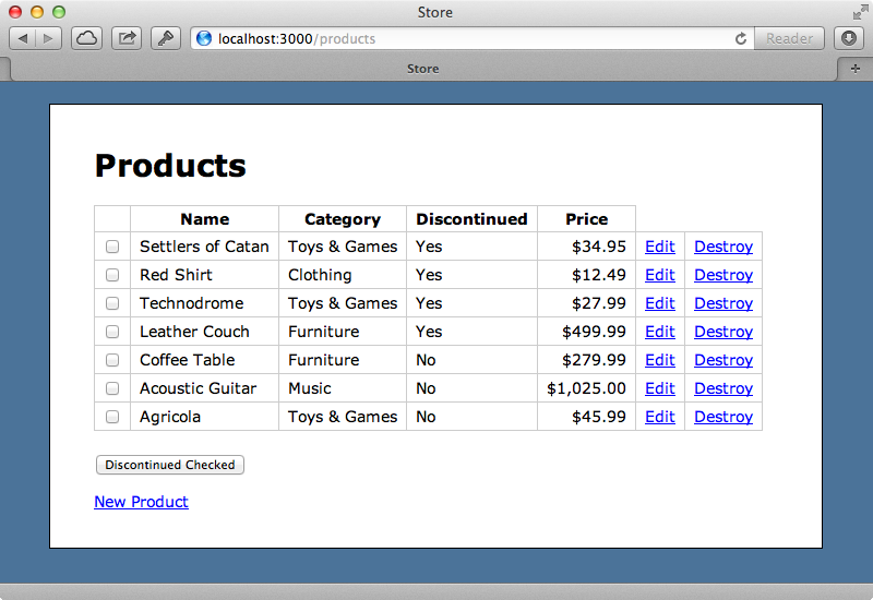 Each product now has a checkbox that we can use to mark it as discontinued.