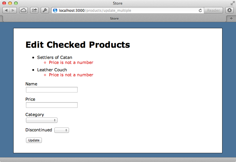 Error messages are shown for each invalid product.