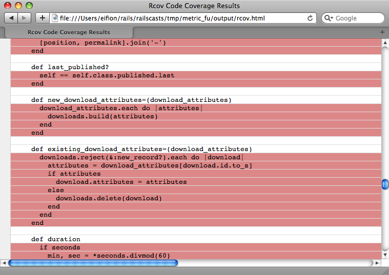 Code not covered by tests is shown in red.