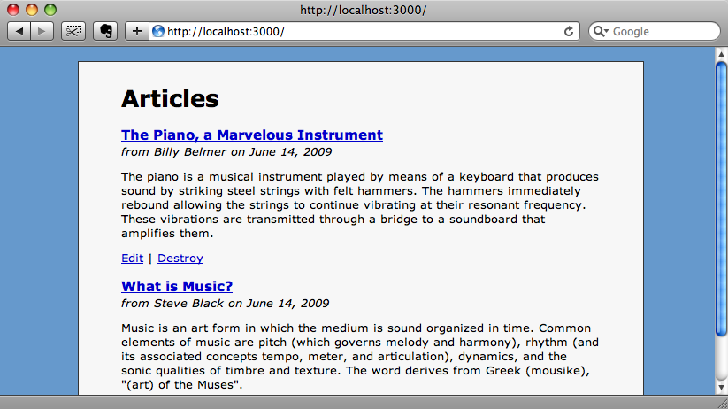 The articles page from our example blogging app.