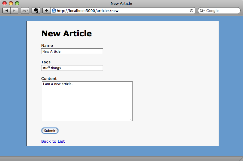 Adding a new article with tags.
