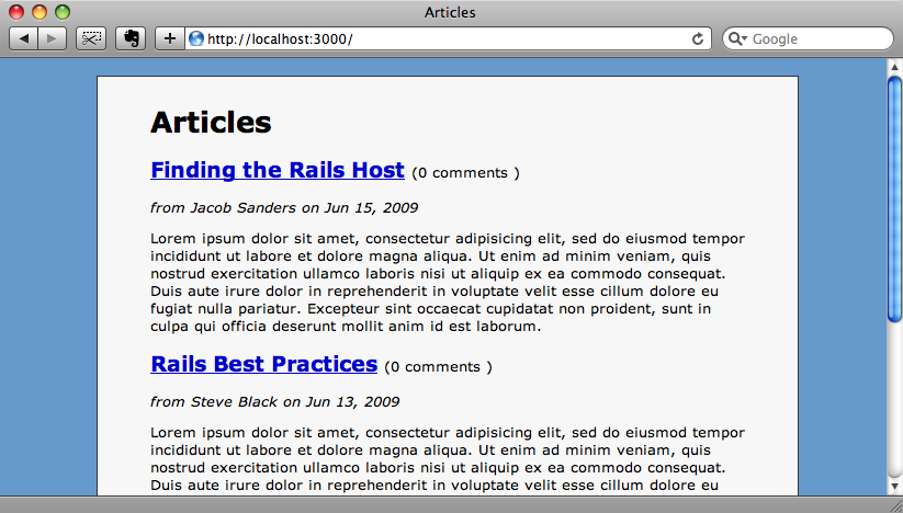 The home page of our blogging application