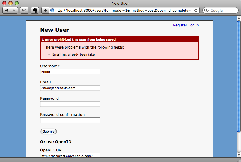 The form shows a different validation error now.