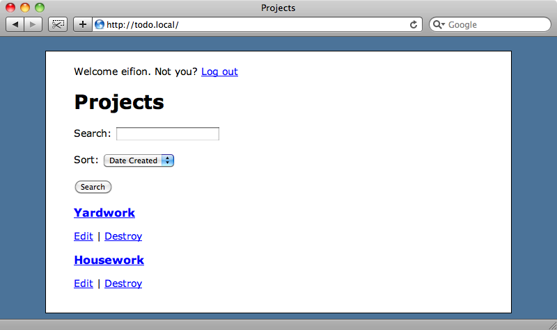 The home page of our project management application.