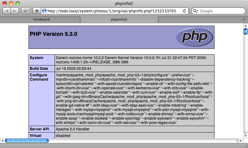 The PHP file has been executed on the server.