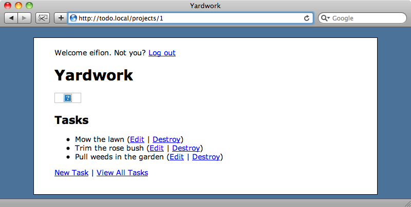 The yardwork project page.