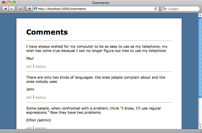 The application's comments page.