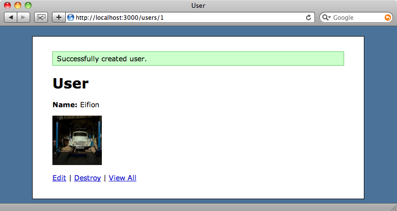 The users page showing the cropped avatar.