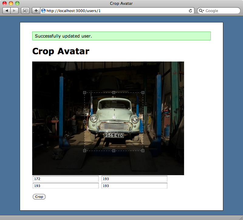 Selecting part of the image for cropping.