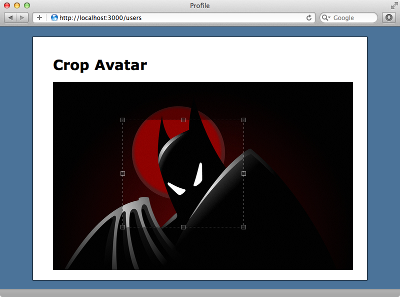 Users can now select an area to crop.