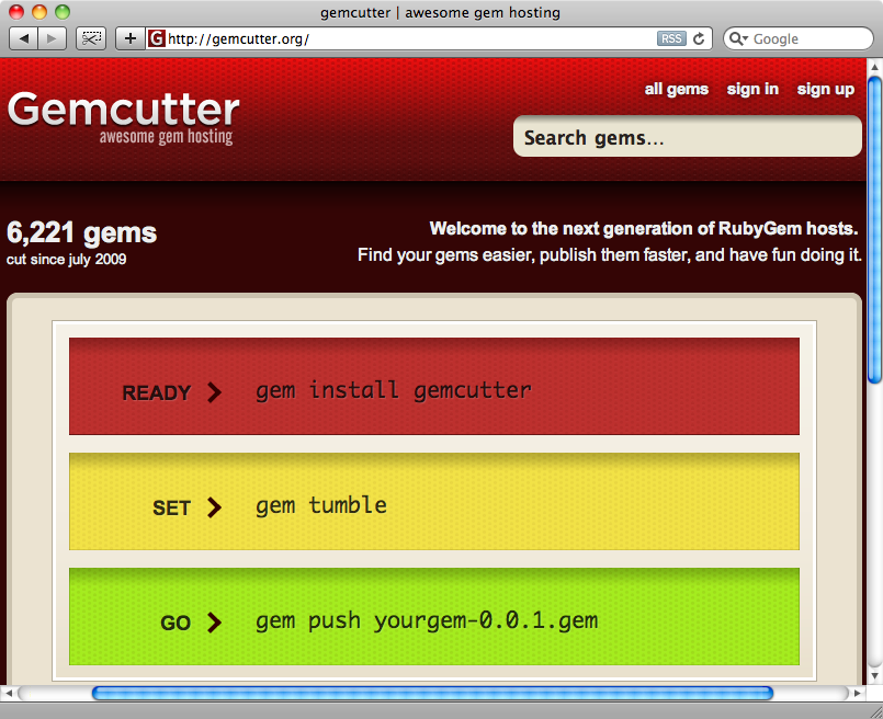 The Gemcutter home page.