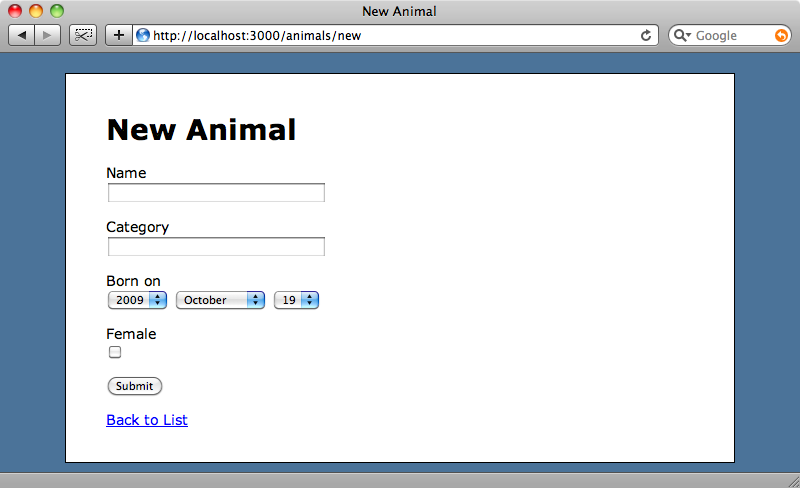 The default New Animal page.