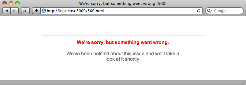 The 500 error on our site.