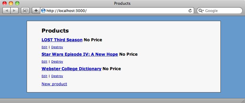 La lista di prodotti sul nostro sito.