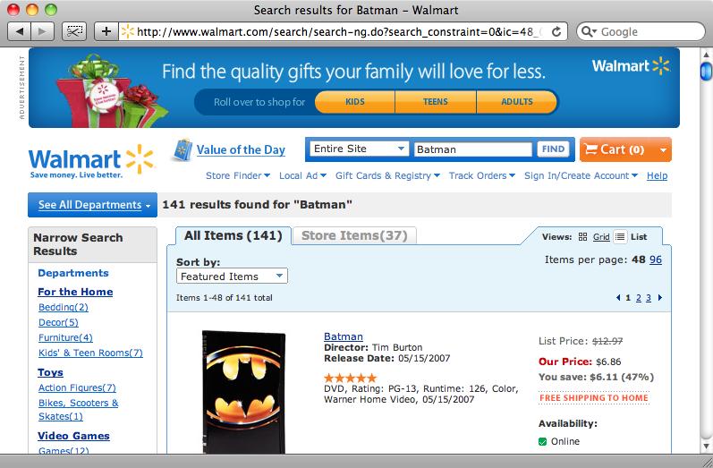 """La pagina dei risultati per la ricerca con chiave """"Batman""""."""