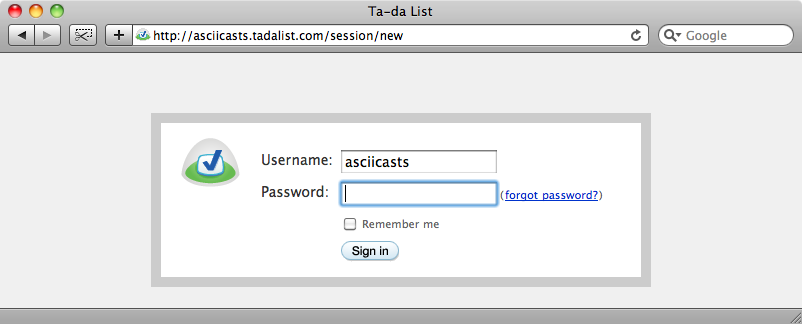 The login page.