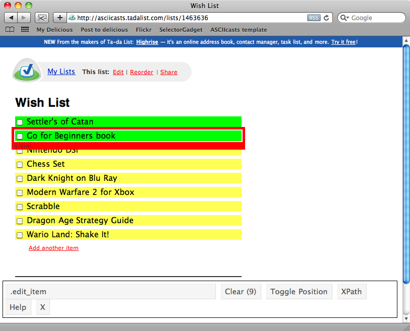 Using SelectorGadget to get the CSS selector for the list items.