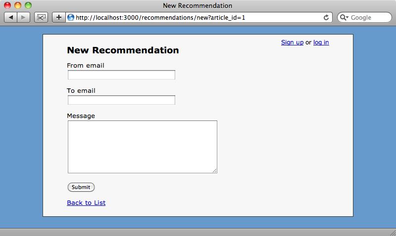 El nuevo formulario de recomendaciones.