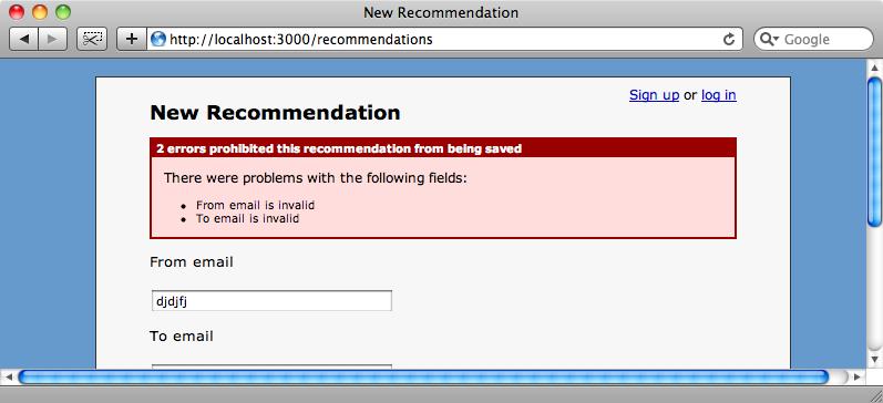 Gli errori di validazione mostrati nel caso di indirizzo email errato.