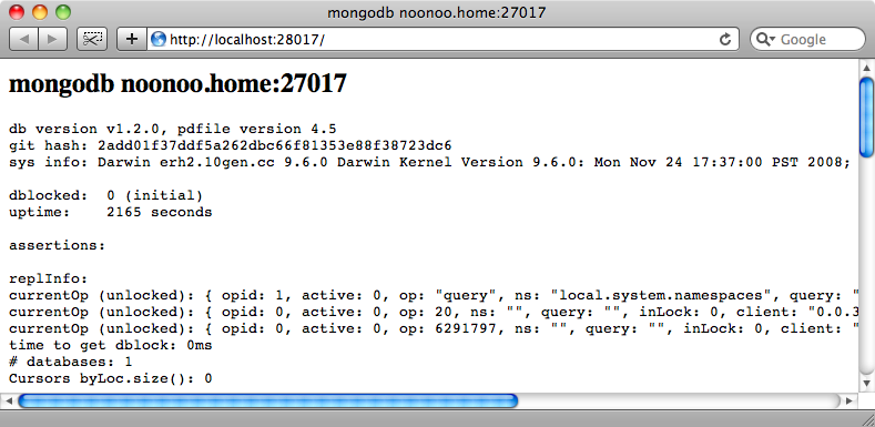 Testing that MongoDB is running.