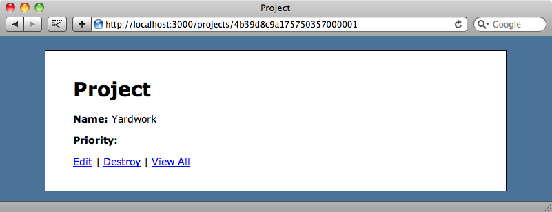 The first project has a blank priority value.
