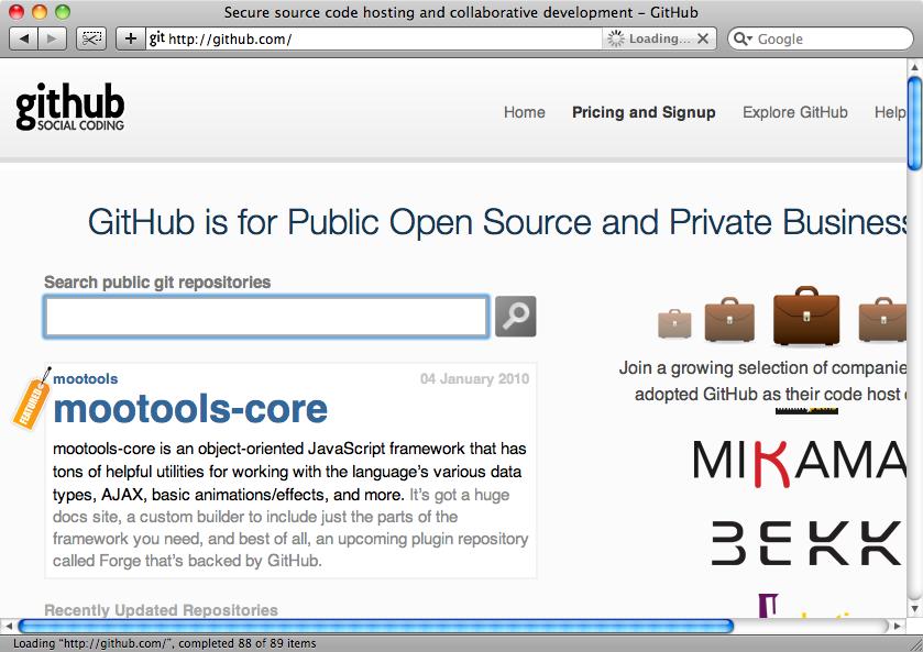 The Github home page.