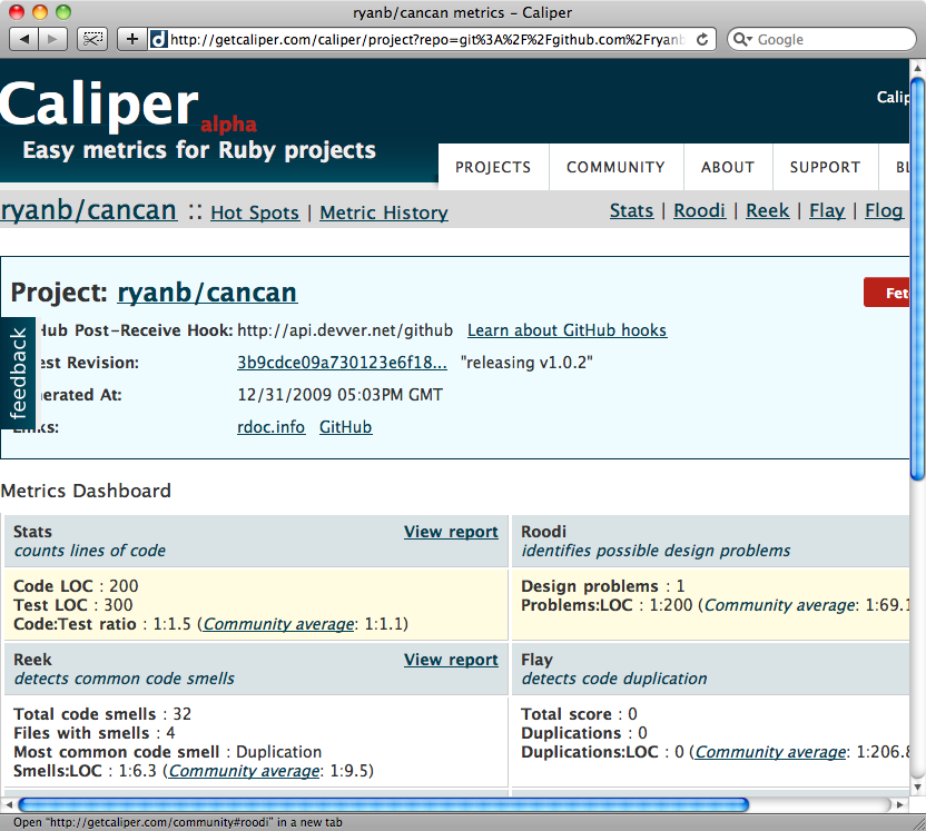 The results page for Caliper.
